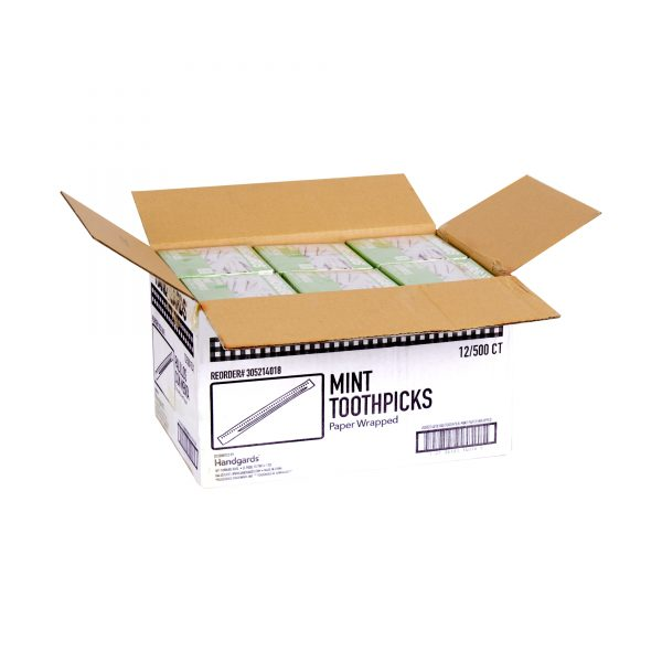 305214018 - Handgards® Wood Disposable Round Toothpicks - Mint Flavor, Paper Wrapped (Open Case)